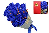 Artificial blue roses Flower Bouquet with Card,Gifts for Women Girls Whom you loved Valentine's Day,Mother's day,Wedding,Christmas,Birthday