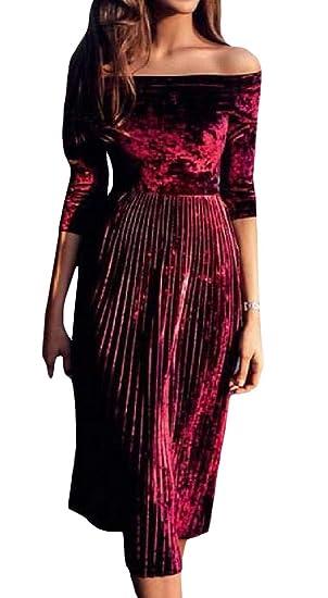 52da46e1daf0 Etecredpow Women s Elegant Pleated Velvet Swing Off Shoulder 3 4 Sleeve  Dress Claret XXS