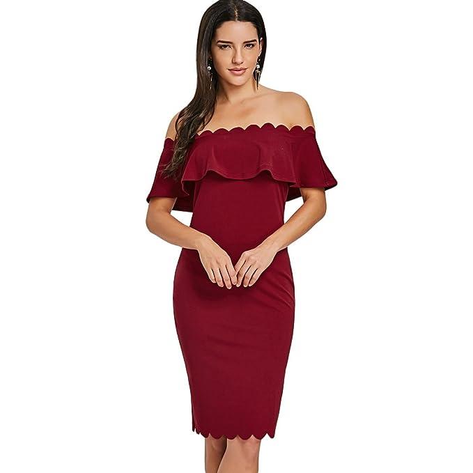 ZEZCLO - Vestido - Ajustado - para Mujer Rojo Granate Large