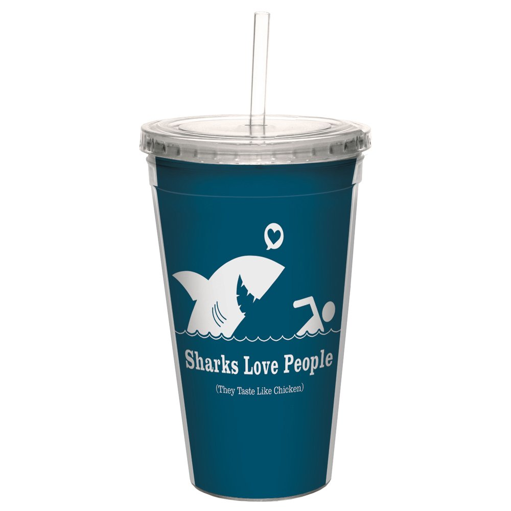 Tree-Free Greetings CC98275 Cool Cups, Double-Walled Pba Free with Straw and Lid Travel Insulated Tumbler, 16 Ounces, Sharks Love People