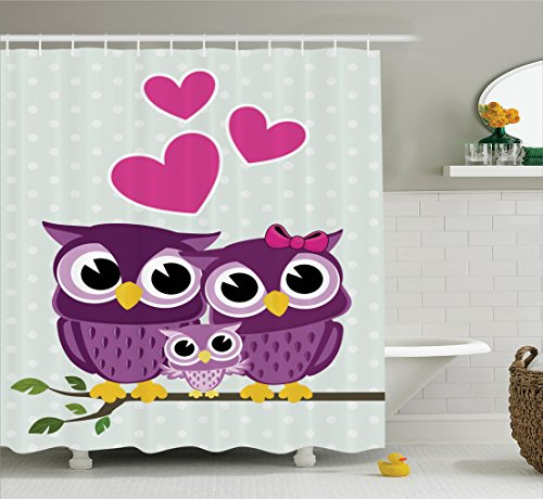 Ambesonne Owls Home Decor Collection, Cute Owls Couple with Baby Owl Sitting on a Branch Family Portrait Cartoon Art, Polyester Fabric Bathroom Shower Curtain Set with Hooks, Magenta Purple -