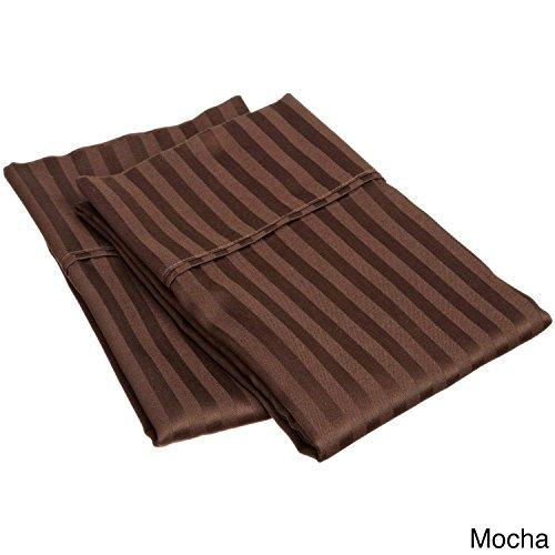 Eless Bedding 2pc Pillowcase Set - Silky Soft & Wrinkle Free 300 TC Egyptian Cotton Pillow Cases - King Size Chocolate Stripe