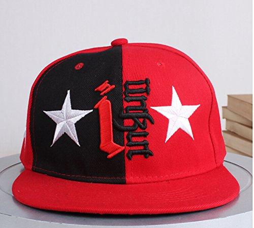 TAILUN Men Women Hip Hop Embroidered Monster / Star / Leopard Snapback Baseball Hat Cap (Star Red)