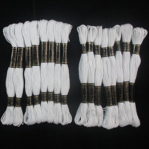 16 White Stranded Cross Stitch Cotton Embroidery Thread Flos