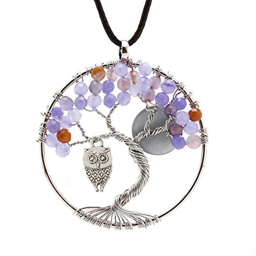 ALoveSoul Tree of Life Necklace Handmade Gemstone Pendant Chakra Jewelry Gift for Her