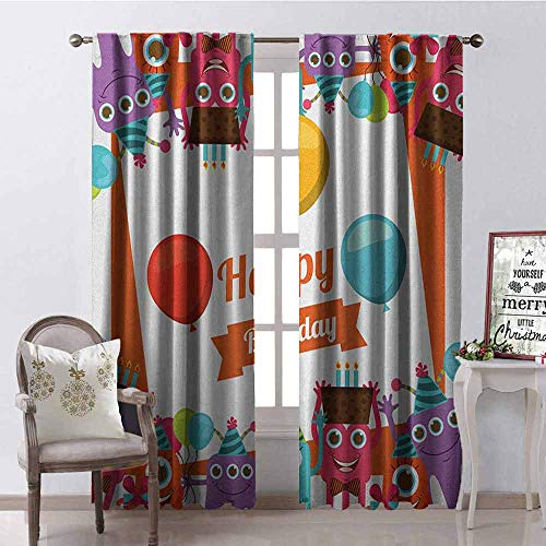 GloriaJohnson Birthday Heat Insulation Curtain Funny Happy Monsters Holding Chocolate Cakes Party Horns Kids Celebration Design for Living Room or Bedroom W42 x L84 Inch Multicolor -