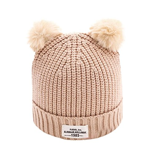 Vovotrade Adorable Cute Baby Hats Children Ball Cap Letter Warm Winter Hats Knitted Wool Hemming (Beige) (Knits Butt)