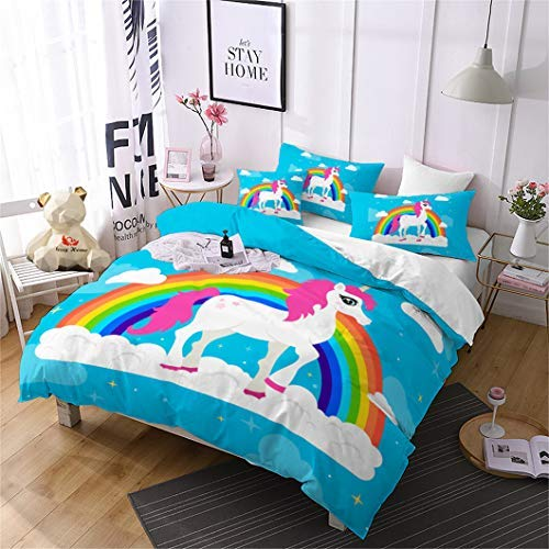 Jessy Home Blue Rainbow Cartoon Unicorn Bedding Twin for Girls,Cartoon 3D Duvet Cover Set 2 Pieces Includes 1 Pillowcase,Protects and Covers Your Duvet Insert (Girls For Duvets)