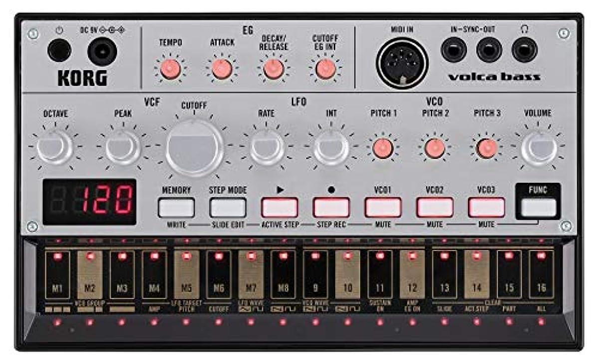 [해외] KORG 아날로그 베이스 머신 VOLCA BASS 16스텝 시퀀서 전지 구동 스피커 내장 헤드폰 사용가 어디에서라도 쓸만한 콤팩트 사이즈