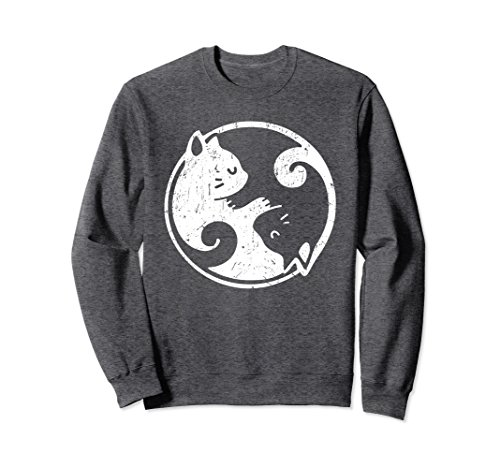 Unisex Yin Yang Cats Cute Kawaii Cat Lover Yoga Gift Sweatshirt XL: Dark Heather (Sweatshirt Yin Adult Yang)