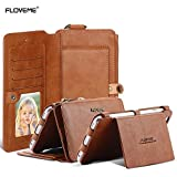 For Apple iPhone 6 Plus and Apple iPhone 6s Plus 5.5 inch Case, FLOVEME Vintage 2 in 1 Zipper Magnetic Wallet Leather 18 Card Slots Handbag Full Protection Flip Pouch Kickstand Cover Holder - Brown