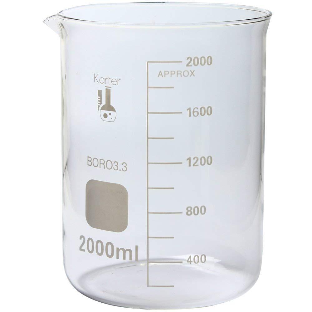 213D20 Karter Scientific 2000ml Glass Low Form Griffin Beaker