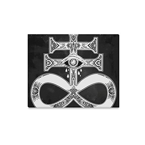 (Canvas Print Wall Art Satanic Cross Demon Modern Oil Painting Wall Painting Canvas Painting Picture Prints Home Decor 20X16)