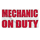Mechanic On Duty #2 Outdoor Fence Sign Vinyl Windproof Mesh Banner With Grommets - 3ftx6ft, 6 Grommets