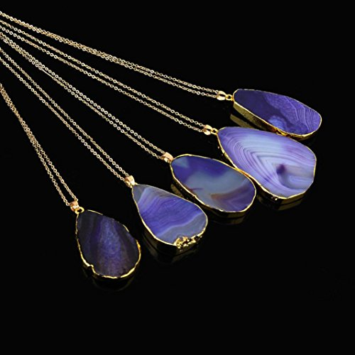 RTYou Fashionable Necklaces, 1PC Natural Stone Crystal Rock Necklace Gold Plated Quartz Pendant (Purple)