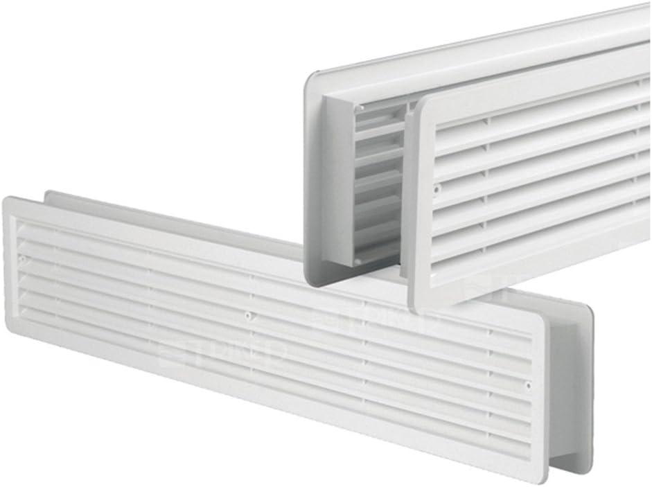 Rejilla de ventilación Erismann Bricks de doble cara, opaca, color blanco, 400 x 130 mm, hecha de plástico ASA de alta calidad, para retroinstalación en baños y cocinas