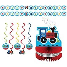 Baby Boy 1st Birthday Party ChooChoo Trains Supply Decoration Bundle! All Aboard Birthday Decor Pack Includes Shaped Ribbon Banner, Assorted Dizzy Danglers and Honeycomb Centerpiece.