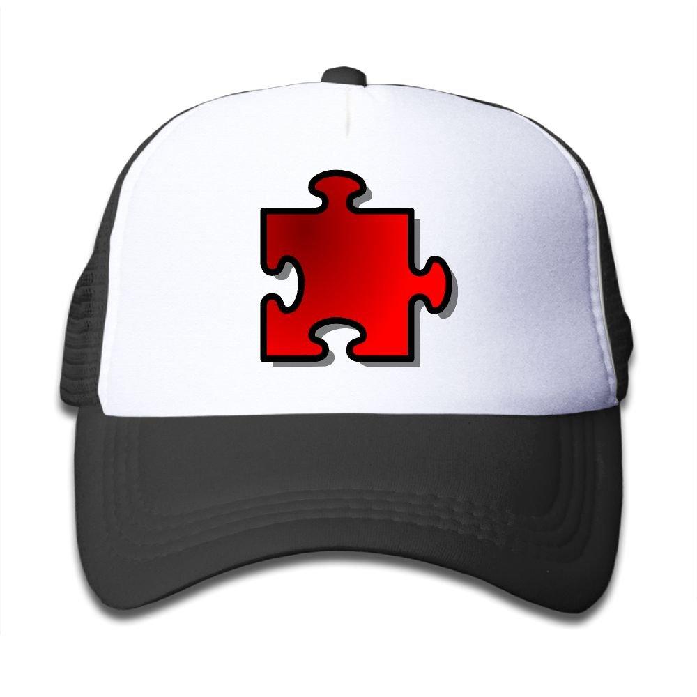 Riokk Az Boys/&Girl Red Mesh Caps Trucker Baseball Hat Red Puzzle Piece