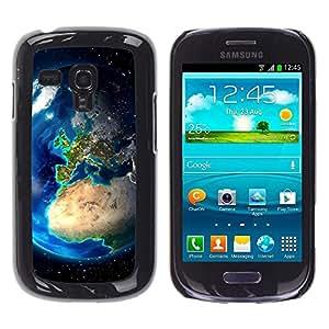 TECHCASE**Cubierta de la caja de protección la piel dura para el ** Samsung Galaxy S3 MINI NOT REGULAR! I8190 I8190N ** Earth Europe View Continents Planet Space