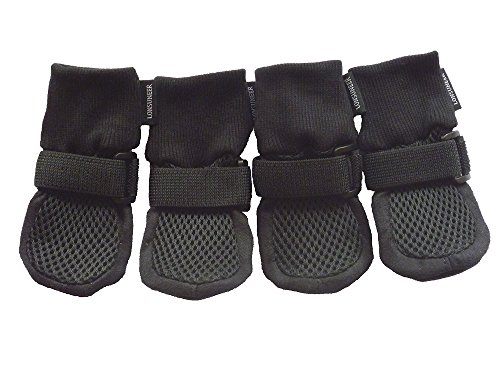 Paw Protector Dog Boots Set of 4 Breathable Soft Sole and Nonslip Color Black in 5 Sizes