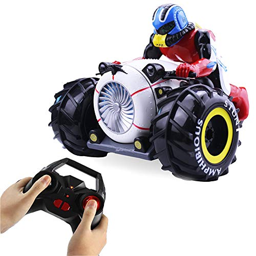 RC Car, KINGBOT 2.4Ghz Remote Control Amphibious Motorcycle High Speed Spinning Stunt Car with 360° Rotate & LED Lights Driving On Land & Water Vehicle Toys for Kids, Black