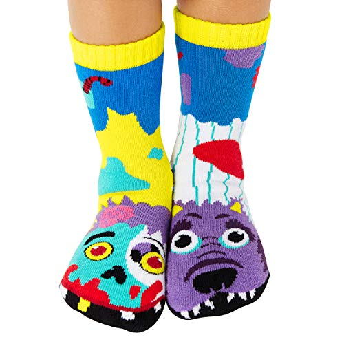 Kids Werewolf & Zombie Halloween Monster Mismatched Socks for Kids Boys Girls with Nonskid No Slip Grips (Age 4-8)