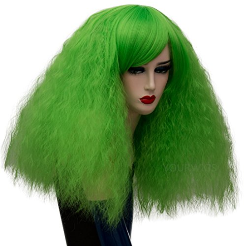 ELIM Short Curly Wigs Green Cosplay Wigs Fluffy Halloween Costume Wigs Synthetic Hair Oblique Bangs for Women with Wig Cap Z079D -