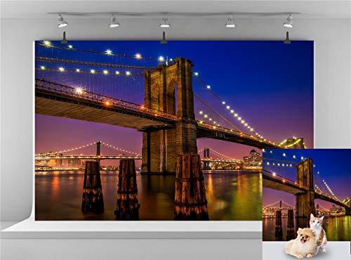 Famous Brooklyn Bridge Backdrop 10x7ft Vinyl Seaside Photography Background Landmark City Light for Wedding Birthday Backdrop Photo Studio Backdrop Theme Party Backdrop E00T9103