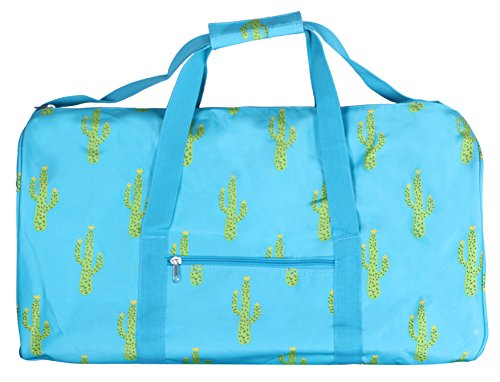 21 Inch Fashion Print Shoulder Strap Overnight Carry On Duffle Bag - Personalization (Turquoise Cactus)