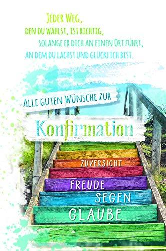 Glückwunschkarte zur Konfirmation mit jugendlichem Motiv und Holzverzierung