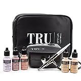 TRU Airbrush Cosmetics Mineral Makeup Set Essentials KIT (dark) 7 Piece Makeup Set with Free Travel Bag