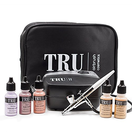 TRU Airbrush Mineral Makeup Set Essentials KIT (light/med) 7 Piece Set with Free Travel Bag