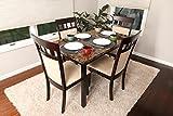 5 PC Thick Marble Espresso Brown 4 Person Table and Chairs Brown Dining Dinette - Espresso Brown and Beige Chair 150235 Espresso