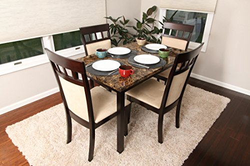 5 PC Thick Marble Espresso Brown 4 Person Table and Chairs Brown Dining Dinette - Espresso Brown and Beige Chair 150235 Espresso