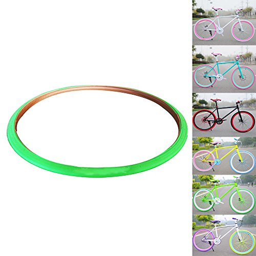 OLizee Fixed Gear Single Speed Fixie Road Track Bike 700X23C Colored Tires(Green) (Bike Colored Tires)