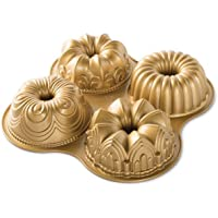 "Nordic Ware 91377 Bundt Quartet Pan, quotL x 12.38""W x 2.47&Quoth, Gold"