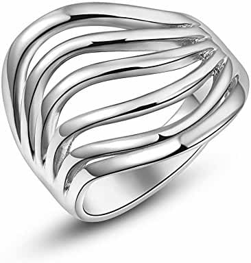 Angeldy 18K Rose Gold/Platinum Plated Thinking Ring Best Thanksgiving for Her