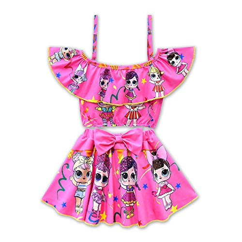 Rohero Toddler Baby Girls Swimsuits Two Piece Doll Print Ruffle Swimwear Bathing Suit for Doll Surprised (130cm/ 6-7Y, Rose 1)