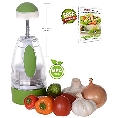 Onion Chopper Vegetable Garlic Slap Chop Slicer Cutter Dicer, GIFT Recipe eBook - by Ohana Magic