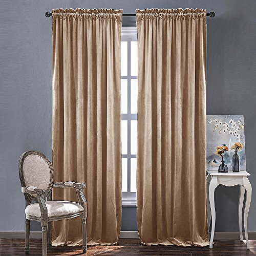 Room Darkening Velvet Curtain Panels - Rod Pocket Classic Panels in Almond Cream for Summer, Autumn & Winter by NICETOWN (2 Panels, 96