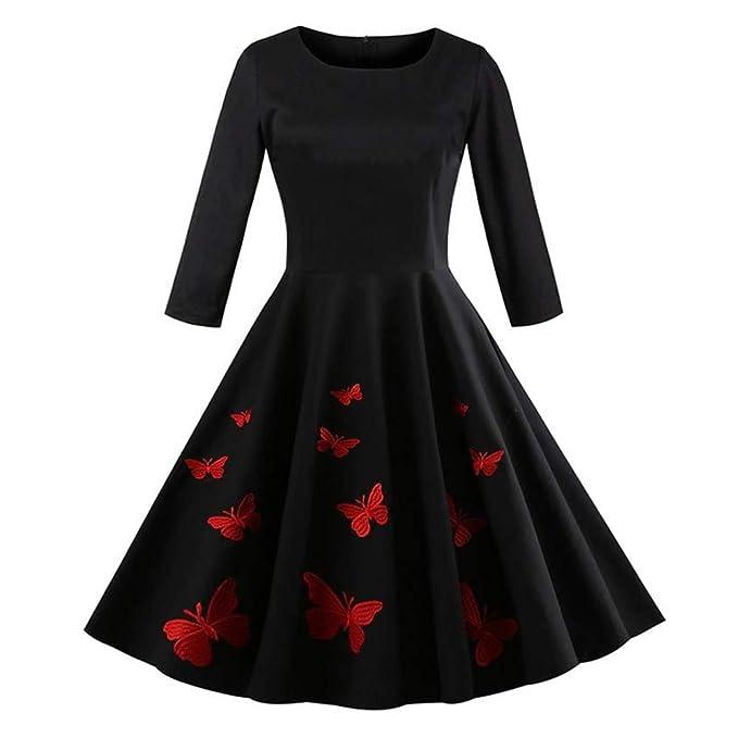 92a4ef84710 Longra Damen Elegant Audrey Hepburn Kleid mit Schmetterlingsdruck  Abendkleid Partykleider Cocktailkleid Damen 50s Retro Vintage Rockabilly  Kleid Petticoat ...
