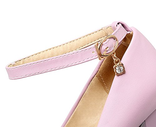 scarpe Alti Weipoot Tacchi Delle Pu Chiuso Fibbia Solido Sottolineato Donne Pompe Toe Rosa pZqP6
