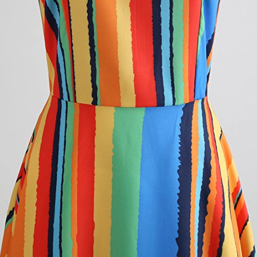 ... HUINI Geblümtes Kleid Damen Vintage Kleider 50er Jahre Rockabilly Retro  Swing Kleid Ärmellos Cocktailkleid mit Gürtel ... 30c1dd3fea