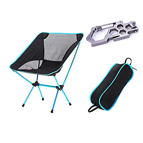 Ezyoutdoor Outdoor Ultralight Portable Folding Chairs with Carry Bag Heavy Duty Camping Folding Chair (Light Blue)