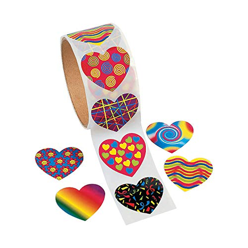 Fun Express Funky Heart Stickers (100pc) Valentine's Day, Stationery, Party Favor Supplies