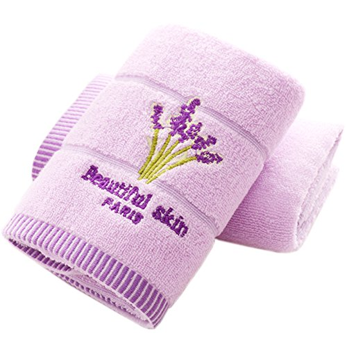 Pidada Hand Towels Set of 2 Lavender Floral Pattern 100% Cotton Super Soft Highly Absorbent Towels for Bathroom 13 x 29 Inch (2 Purple)