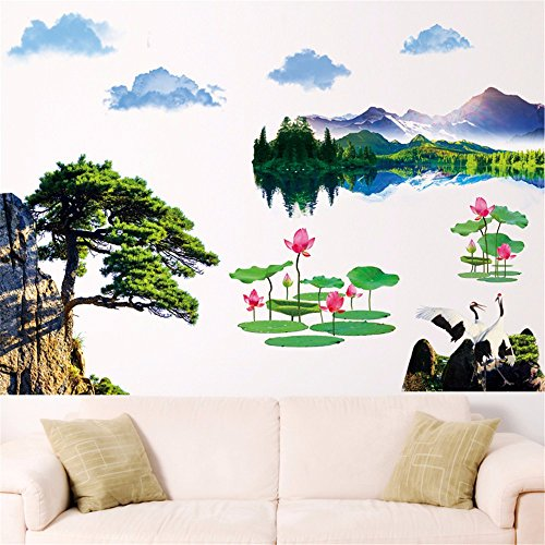 Lotus Pine Tree - Bomeautify Murals Wall Stickers Paper Stickers Chinese Style Greetings Song Dahao Rivers Landscape Oil Painting Simulation Pine Pine Lotus Removable, 9060CM Wallpaper
