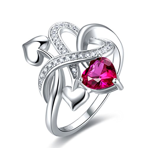 Merthus Womens 925 Sterling Silver Created Ruby Heart Love Knot Ring by Merthus (Image #4)