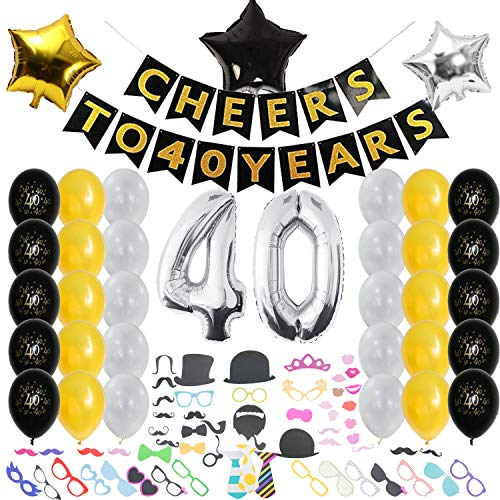 40th Birthday Decorations, Happy Wedding Anniversary for Men and Women, Cheers to 40 Years Party Banner, Photo Booth Props Hat, Over The Hill Supplies Black, Gold, Gray, Silver Accessories ()