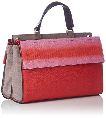 Calvin Klein Jeans Shari Snake Small Flap Satchel K60K601285 Damen Henkeltaschen 25x17x12 cm (B x H x T) Rot (Colorblock 905 905) nUrWtlE